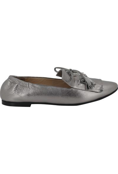 Hobby Gümüş Deri Kadın Babet Ayakkabı 104