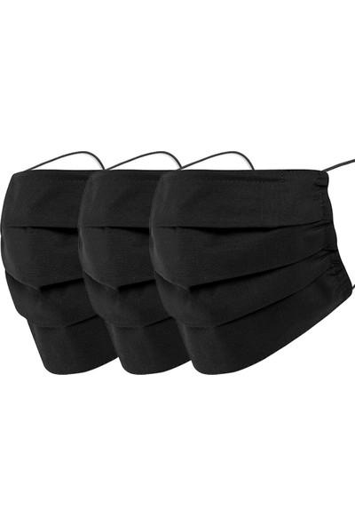 Mutlu Maske Siyah Renkli Konfor Modeli 3 Katlı Burun Telli Pamuklu Kumaş Yıkanabilir Maske 3'lü Set