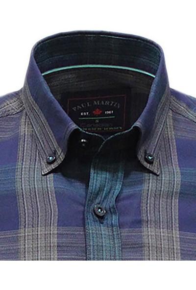 Paul Martın Erkek Lacivert Gömlek