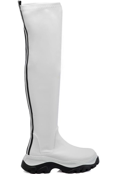 Tergan Beyaz Kadın Çizme 64758D93