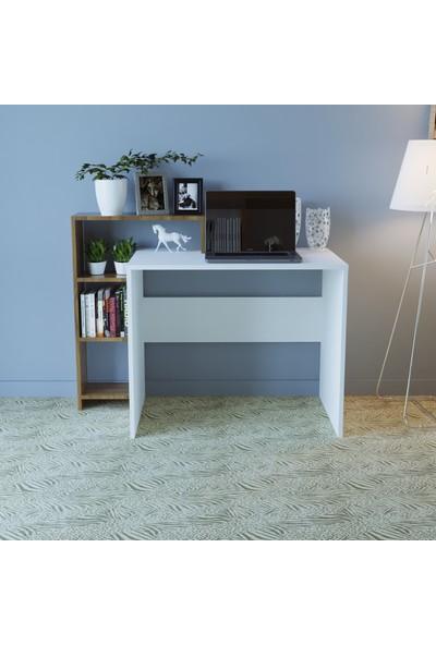 Lina Raflı Çalışma Masası Beyaz Ceviz