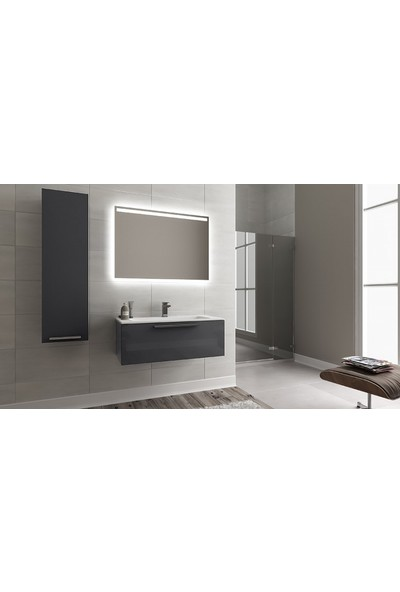 Bagnotti Vega 100 cm Parlak Antrasit LED Aynalı Banyo Dolabı