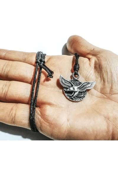 Spdesigns Gümüş Renk Uçan Kartal Erkek Kolyesi
