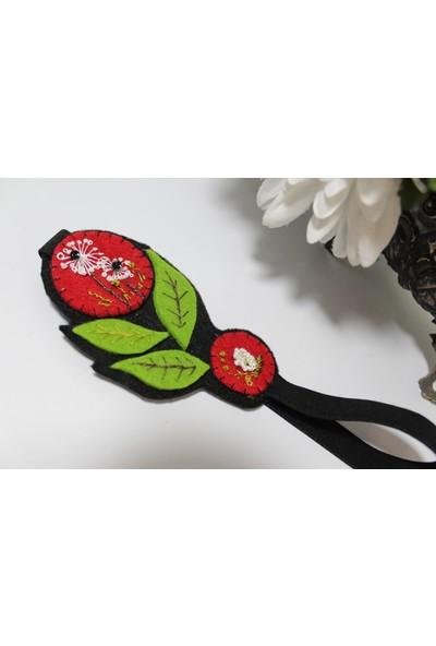 Kozalak Tasarım Çiçek Tasarım Kırmızı Yeşil Kitap Ayracı
