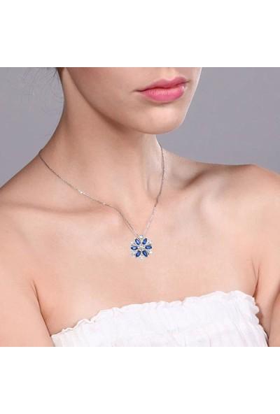 Enes Store Pırlanta Model Kar Tanesi Safir Taşlı Kadın Gümüş Kolye