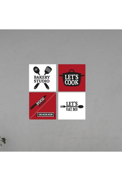 Meşgalem Mutfak Yazısı Let's Cook Ahşap Dekoratif Duvar Süsü