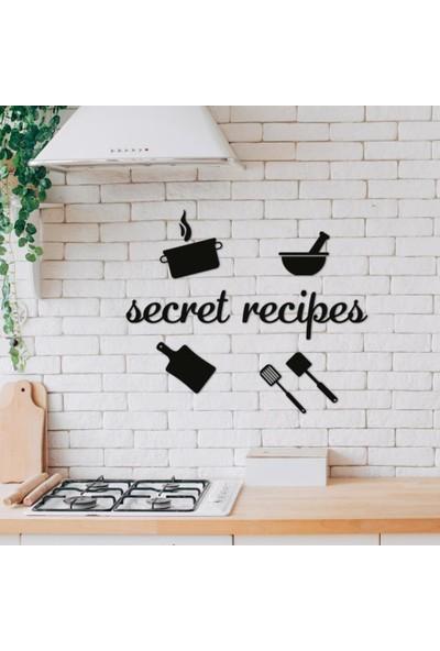 Meşgalem Ahşap Dekoratif Mutfak Aynası Isme Özel Siyah Renk Duvar Süsü