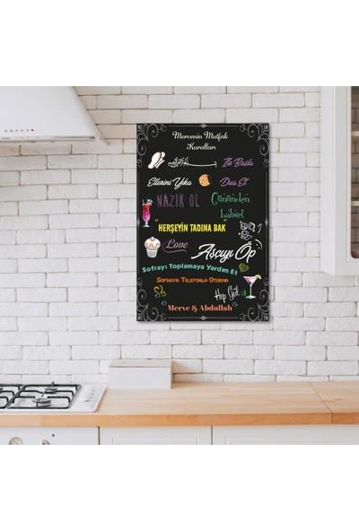 Meşgalem Ahşap Dekoratif Yazılı Mutfak Kuralları Tablo Süsü