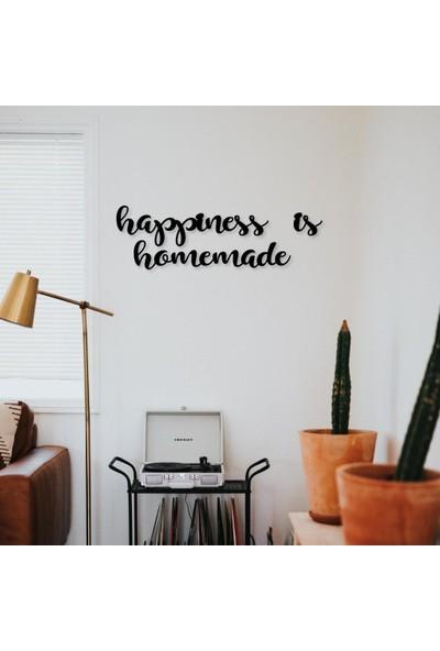 Meşgalem Mutfak Duvar Süsü Kare Ahşap Tablo Happiness Is Homemade
