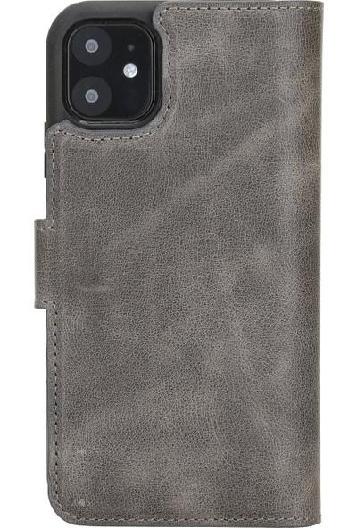 Burkley Mw Deri Telefon Kılıfı Apple iPhone 11 Vs4 Gri