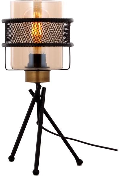 AVONNI ML-65061-1BSY Eskitme/Siyah Kaplama Masa Lambası E27 Metal Cam 20cm