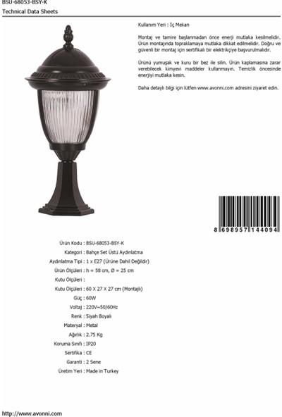 AVONNI BSU-68053-BSY-K Siyah Elektrostatik Toz Boyalı Dış Mekan Aydınlatma E27 Aluminyum Döküm Dip Polikarbon Cam 25cm