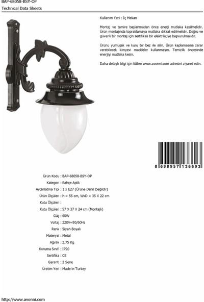 AVONNI BAP-68058-BSY-OP Siyah Elektrostatik Toz Boyalı Dış Mekan Aydınlatma E27 Aluminyum Akrilik Cam 35x22cm
