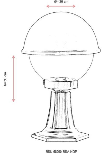 AVONNI BSU-68060-BSA-KOP Sarı Elektrostatik Toz Boyalı Dış Mekan Aydınlatma E27 Aluminyum Polikarbon Cam 30cm