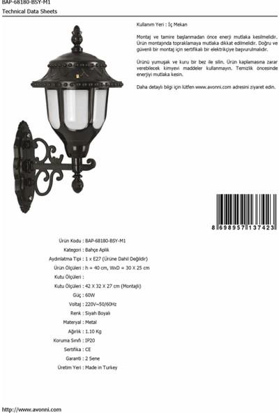 AVONNI BAP-68180-BSY-M1 Siyah Elektrostatik Toz Boyalı Dış Mekan Aydınlatma E27 ABS Polikarbon Cam 30x25cm