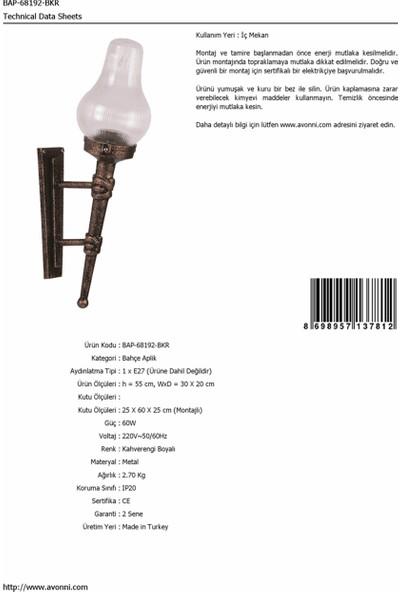 AVONNI BAP-68192-BKR Kahverengi Elektrostatik Toz Boyalı Dış Mekan Aydınlatma E27 ABS Akrilik Cam 30x20cm