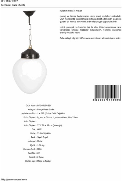 AVONNI BFE-68194-BSY Siyah Elektrostatik Toz Boyalı Dış Mekan Aydınlatma E27 ABS Akrilik Cam 25cm