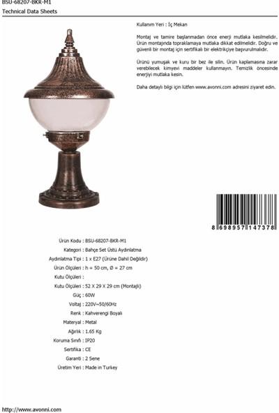 AVONNI BSU-68207-BKR-M1 Kahverengi Elektrostatik Toz Boyalı Dış Mekan Aydınlatma E27 ABS Polikarbon Cam 27cm