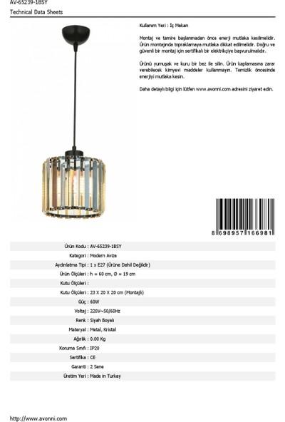 AVONNI AV-65239-1BSY Siyah Boyalı Modern Avize E27 Metal Kristal 19cm