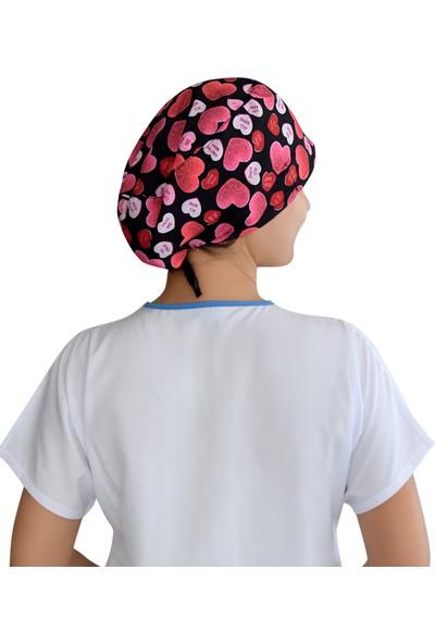 Nur Ortopedi Pembe Kalpler Temalı Cerrahi Doktor Hemşire Bonesi