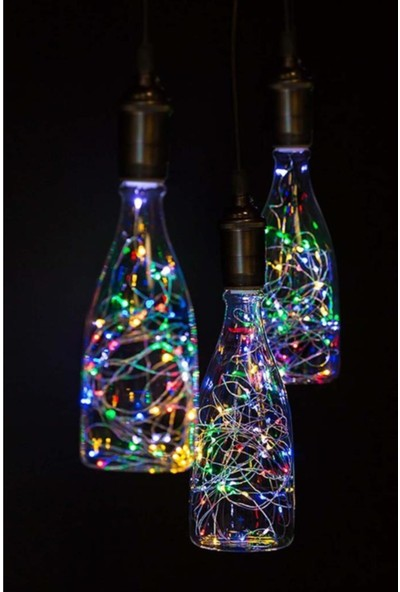 Epazzar Rennway Pilli Renkli Peri LED Işık Saçak 10 Metre Dekoratif Aydınlatma