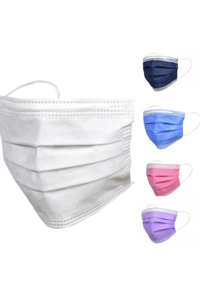 Asilmed 5 Renk Kombin 3 Katlı Tam Full Ultrasonik Cerrahi Maske 50 Adet 10'lu Paketlenmiş Yeni Trend Filtreli Steril