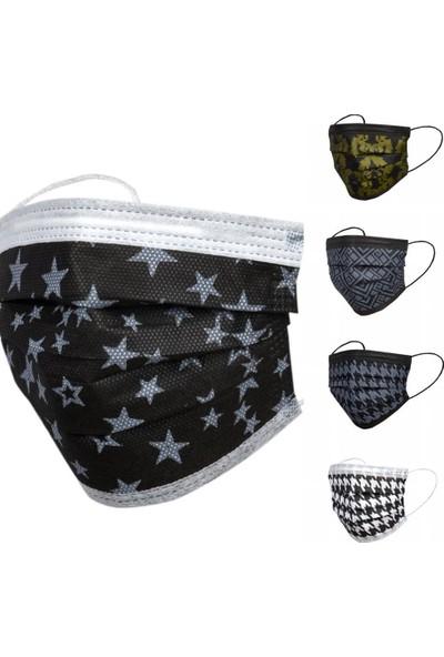 Asilmed 5 Renk Kombin 3 Katlı Tam Full Ultrasonik Cerrahi Maske 50 Adet 10'lu Paketlenmiş Yeni Trend Filtreli Steril Maske