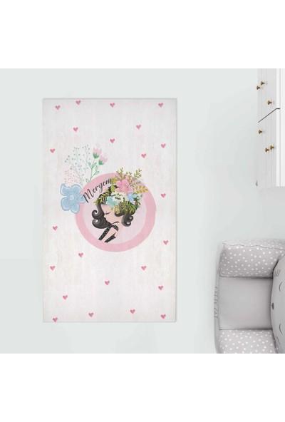 Homamia Kişiye Özel Dijital Baskı 5mm Halı Çiçekli Kız 80 x 100 cm