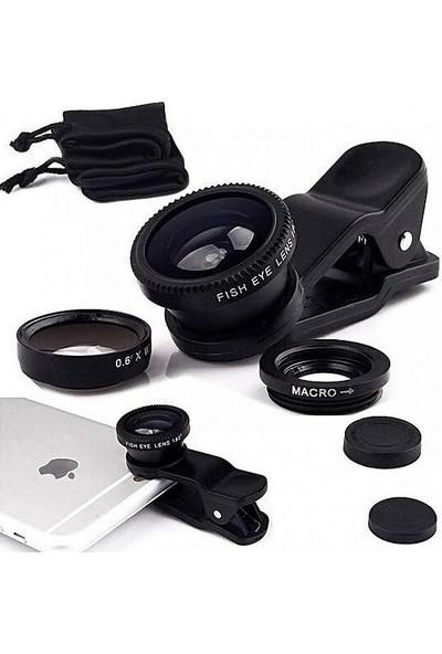 Matesstore Balık Gözü Lens Fish Eye 3 Wide Geniş Açılı Makro Telefon Lensi