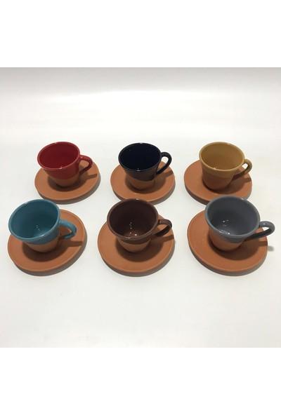İlbay Çini Takı Ilbay Çini Takı Toprak Çömlek Rengarenk 2 Kahve Fincanı 6'lı