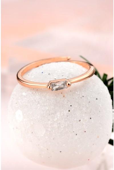Jelux Silver Minimalist Baget Tek Taşlı Rose Renkli Gümüş Ayarlanabilir Yüzük