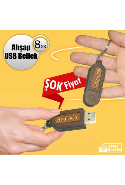 Ahşap Şehri Isme Özel Ahşap USB Flash Bellek