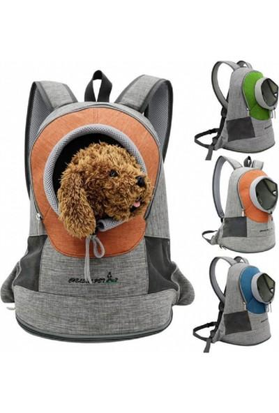 Kedi & Küçük Irk Köpek Sırt Taşıma Çantası ve Ana Kucağı Medium Gri-Turuncu