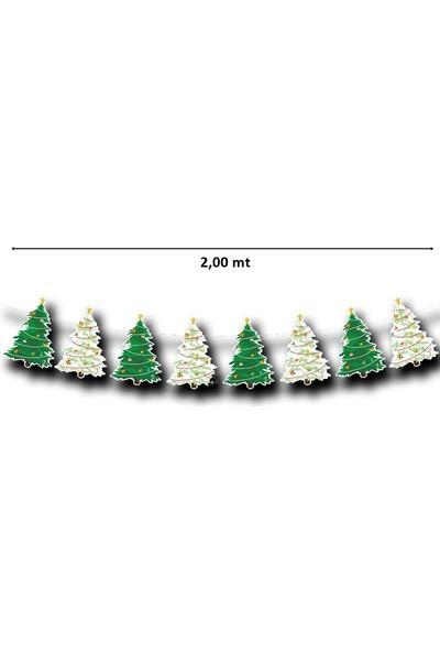 Süsle Bebek Parti Yılbaşı Çam Ağacı Dizini Şeklinde Banner 200 mt
