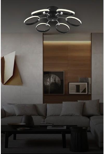 Luna Lighting Lunalighting Modern 6 Lı Siyah LED Avize Plafonyer Ledli