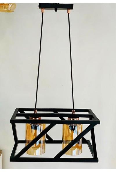 Luna Lighting Modern Siyah 2li Avize