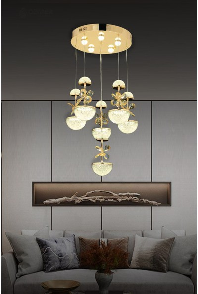 Luna Lighting Modern Luxury Kristal Taşlı 6lı Sarkıt LED Avize Gold Sarı