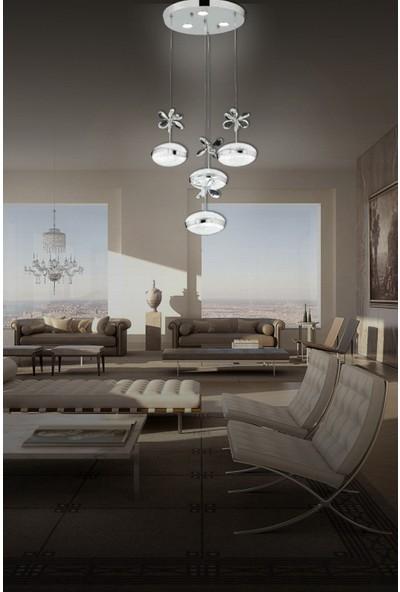 Luna Lighting Luxury 4lü Kristal Taşlı Krom Sarı Sarkıt LED Spor Modern Avize