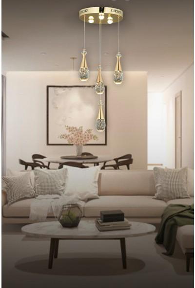 Luna Lighting Luxury LED 4lü Gold Sarkıt Modern Avize
