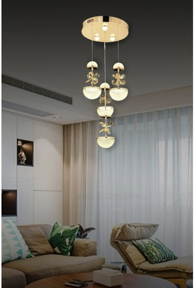 Luna Lighting Modern Luxury Kristal Taşlı 4lü Sarkıt LED Avize Gold Sarı