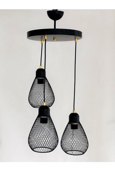Luna Lighting Modern Siyah 3lü Sarkıt Avize