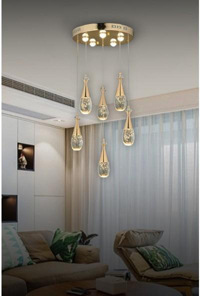 Luna Lighting Luxury LED 6lı Sarkıt Gold Modern Avize