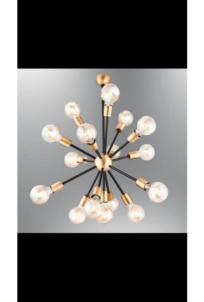Luna Lighting 15 Lambalı Modern Kirpi Siyah Eskitme Avize