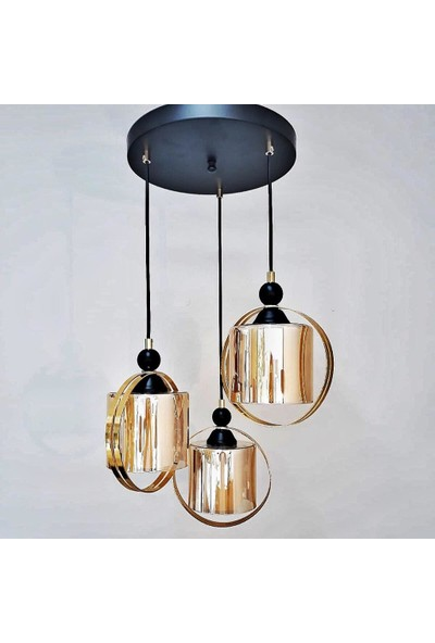 Luna Lighting Modern 3lü Gold Camlı Sarkıt