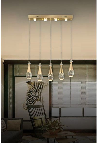 Luna Lighting Luxury LED 5 Li Sıralı Gold Modern Avize
