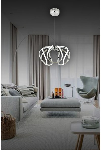 Luna Lighting LED Avize Ledli Sarkıt Krom Luxury Modern