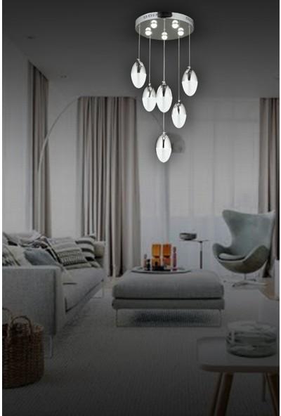 Luna Lighting Modern Luxury 6lı Sarkıt LED Avize Krom