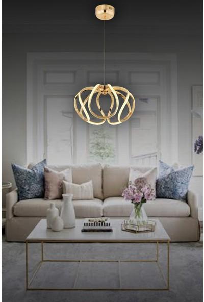 Luna Lighting LED Avize Ledli Sarkıt Gold Sarı Luxury Modern