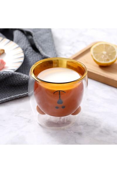 Linan Ware Kahverengi Ayıcık Karakterli Çift Cidarlı Bardak 250 ml
