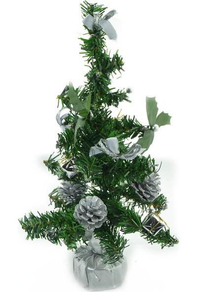 irayhomedecor 20CM Süslü Mini Yapay Çam Ağacı Gümüş